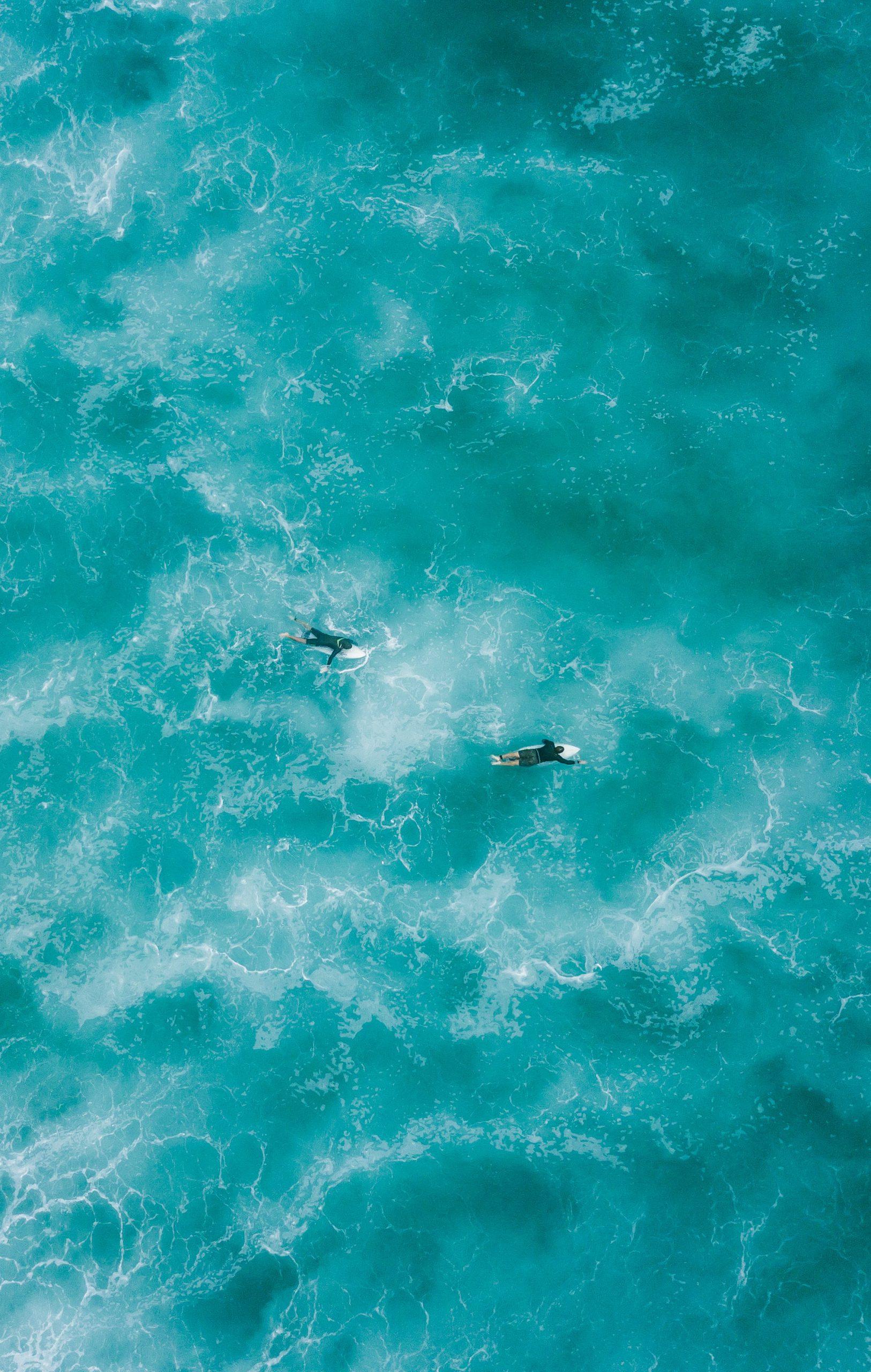 surfers in open ocean